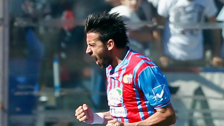 Nicolas Spolli celebrates for Catania