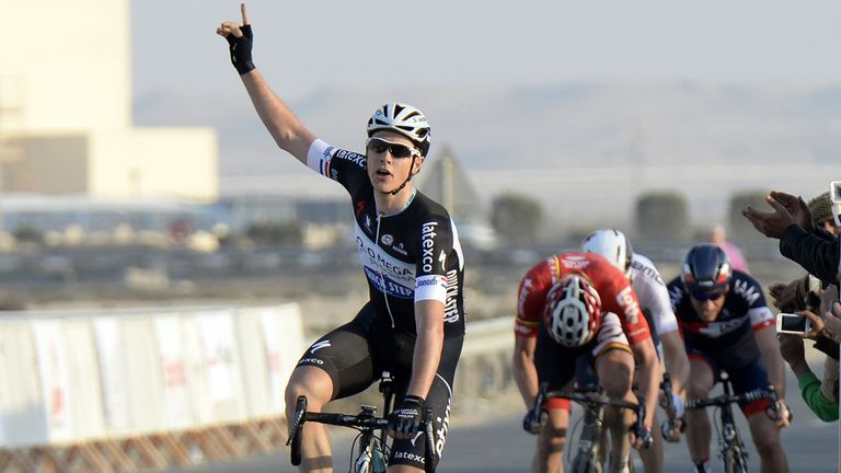 Niki Terpstra celebrates his victory on the Arabian Gulf