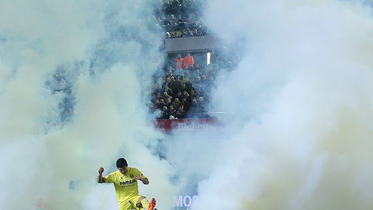 Villarreal: Smoke canister thrown on to the pitch late on