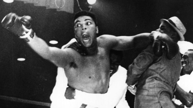 Clay celebrates one of the biggest upsets in heavyweight history
