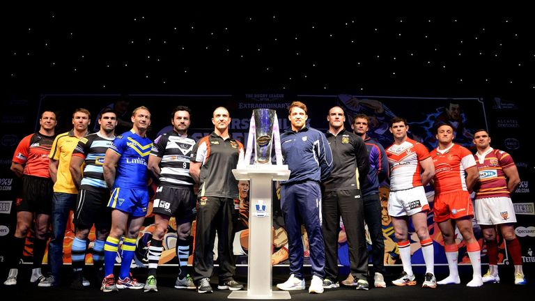 The team captains line up during the official launch of the 2014 season