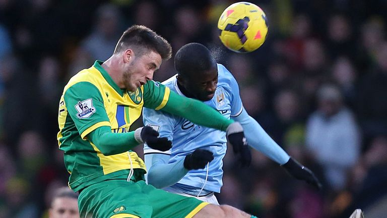 Yaya Toure appeared to kick out at Ricky van Wolfswinkel during injury-time of Saturday's goalless draw