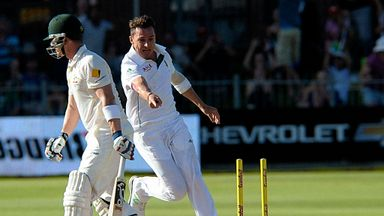 Dale Steyn: South Africa fast bowler celebrates the wicket of Brad Haddin on day four