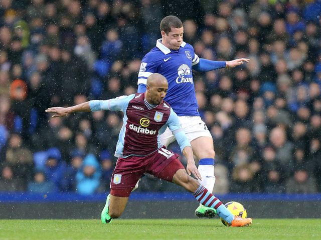 Everton's Ross Barkley and Aston Villa's Fabian Delph