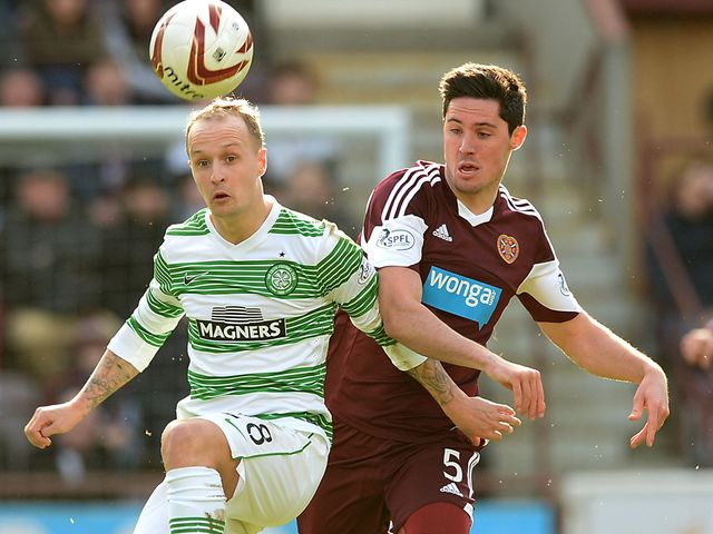 Celtic striker Leigh Griffiths shields the ball from Dylan McGowan