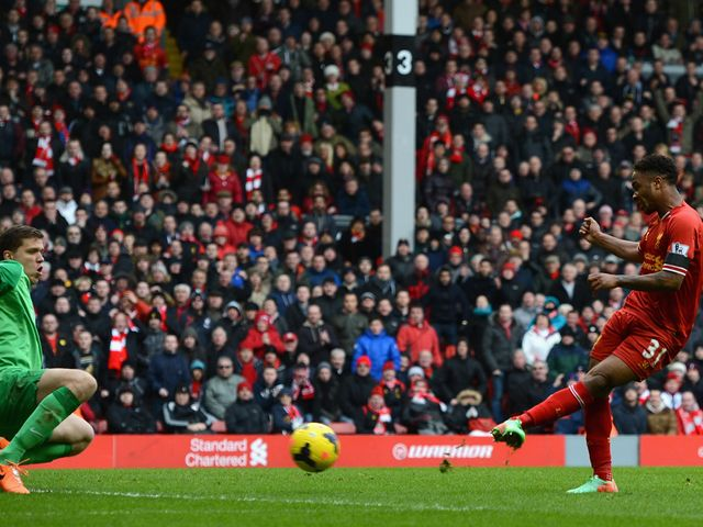 Raheem Sterling scores Liverpool's fifth goal