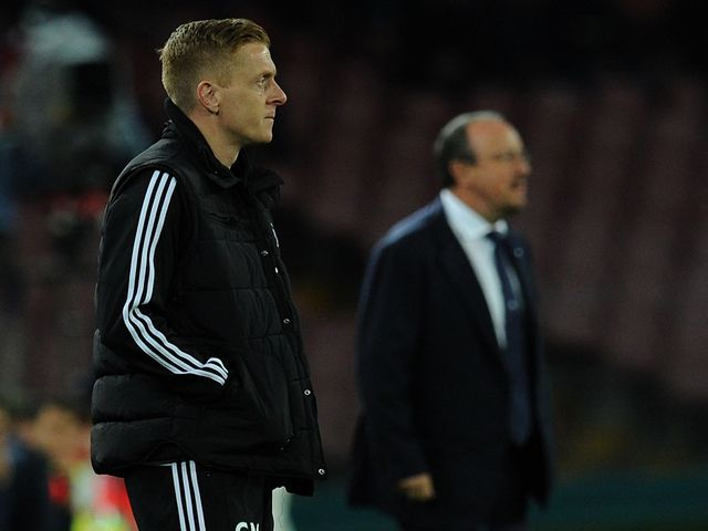 Garry Monk and Rafa Benitez watch the action