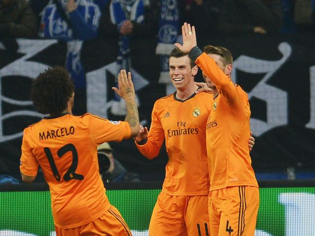 Real Madrid celebrate Bale's second of the game