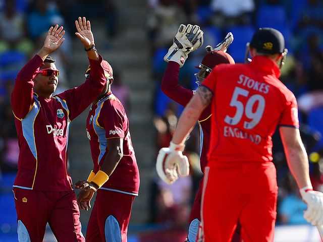 West Indies celebrate taking the wicket of Ben Stokes