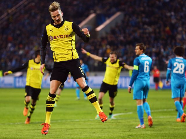 Marco Reus celebrates his goal for Dortmund