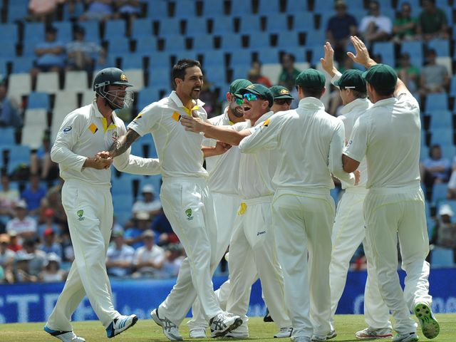 Mitchell Johnson (2nd L): Took match figures of 12-127 in first Test