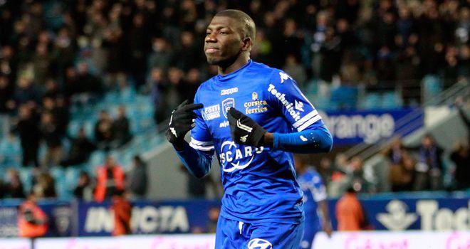 Bastia's midfielder Adama Ba celebrates