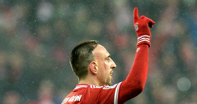 Franck Ribery celebrates scoring for Bayern Munich