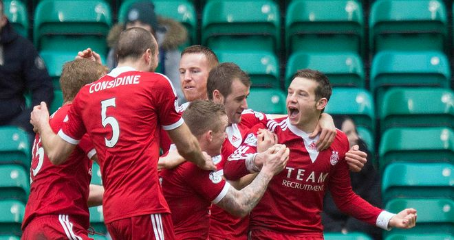 Peter Pawlett (r): Delight at sending Aberdeen into the quarter-finals of the Scottish Cup