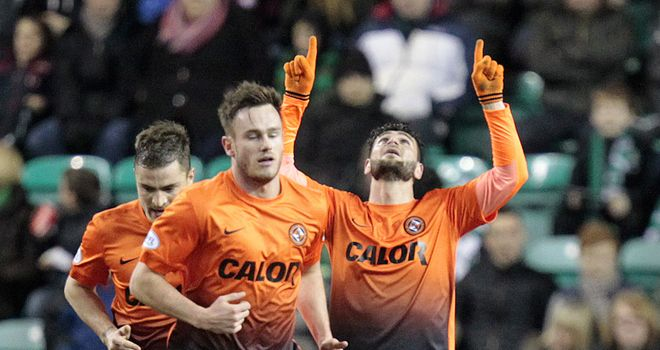 Dundee United striker Nadir Ciftci celebrates his goal against Hibernian at Easter Road