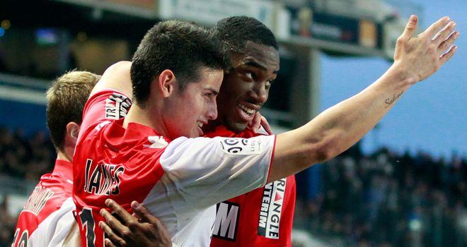 James Rodriguez (l): Celebrates scoring