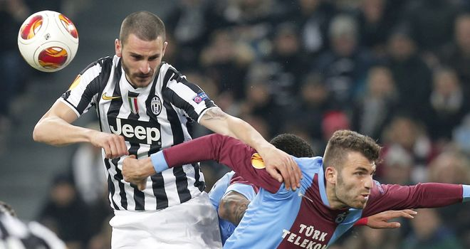 Leonardo Bonucci (l): Juventus defender fights for the ball
