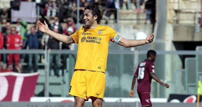 Luca Toni celebrates his goal