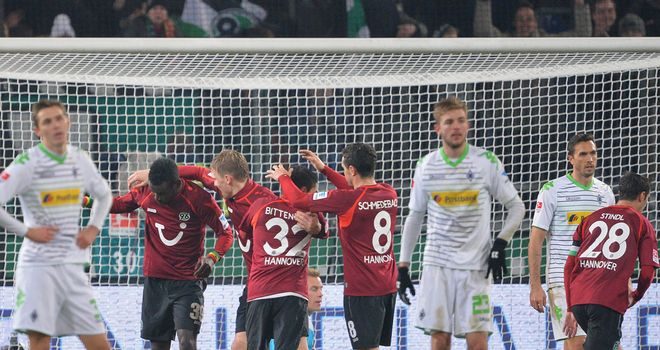 Diouf celebrates for Hannover