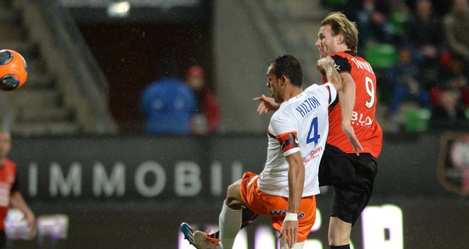 Rennes's forward Ola Toivonen shoots on goal