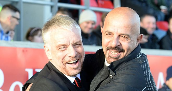 Brian Noble: Salford coach (left) gives thumbs up to 'golden ticket' plan of his chairman Marwan Koukash (right).