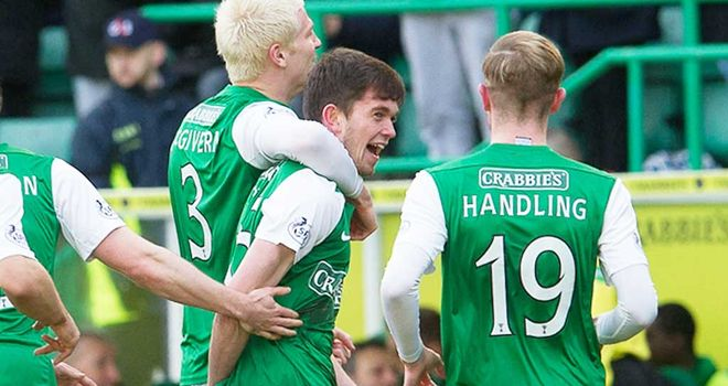 Hibernian celebrate Sam Stanton's opening goal against Ross County