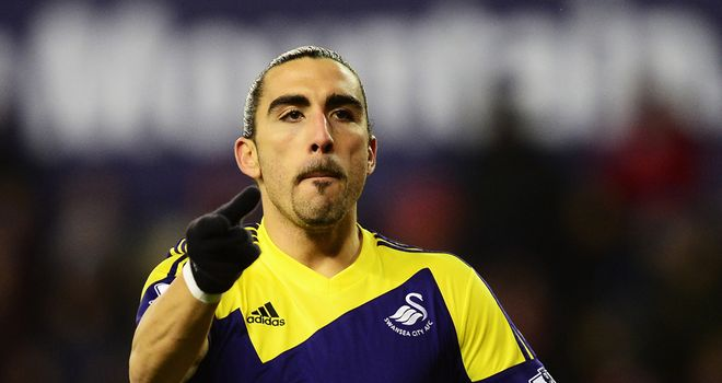 Chico Flores: Celebrates heading the equaliser in the 1-1 draw at Stoke