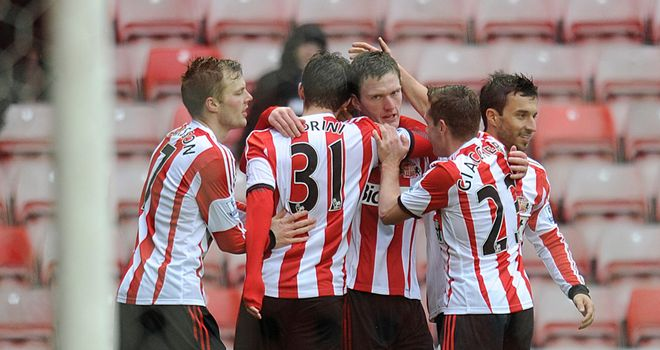Sunderland celebrate after Craig Gardner's stunning winning goal