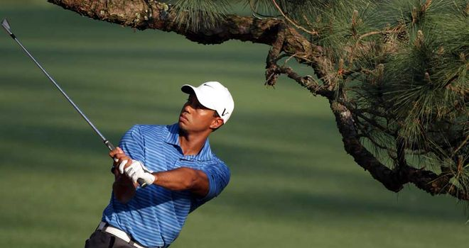 Tiger Woods struggles to negotiate the Eisenhower Tree in 2011