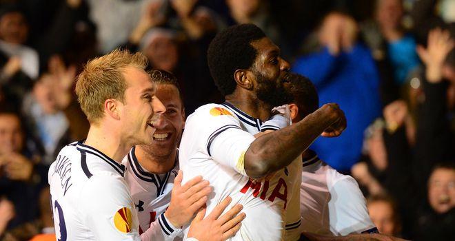 Emmanuel Adebayor: Celebrates Tottenham goal
