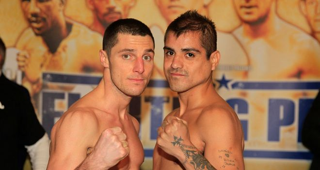 Coyle and Brizuela: both made the weight ahead of Saturday's match-up (Pic Lawrence Lustig)