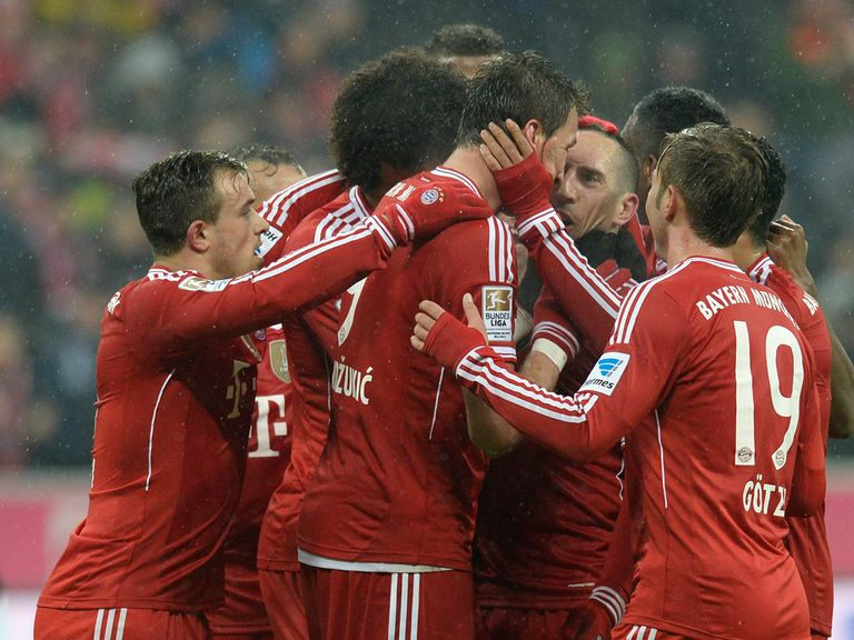 Bayern Munich celebrate during their victory