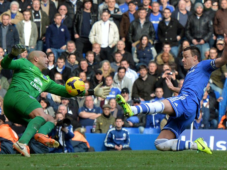 John Terry gets a slight touch on Frank Lampard's fine free-kick