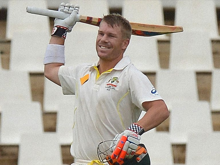 David Warner celebrates his century at Centurion