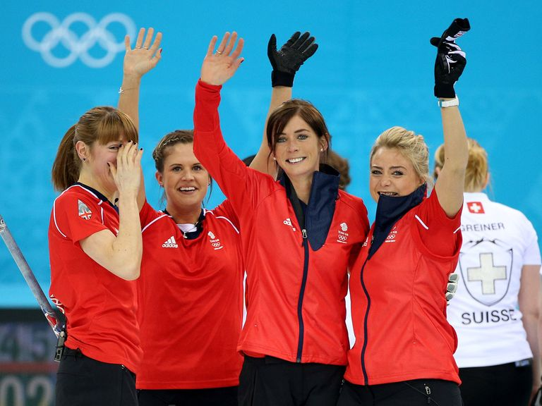 Eve Muihead and her British team celebrate a bronze medal