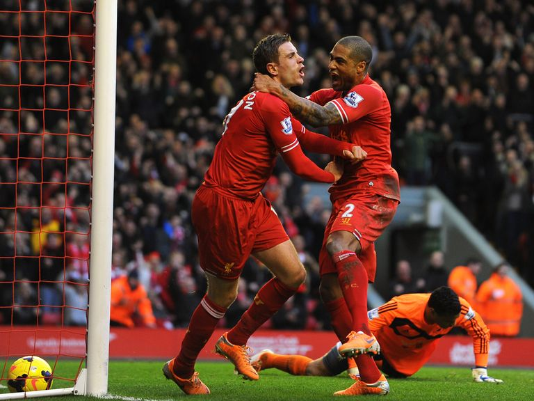 Liverpool celebrate during their win over Swansea