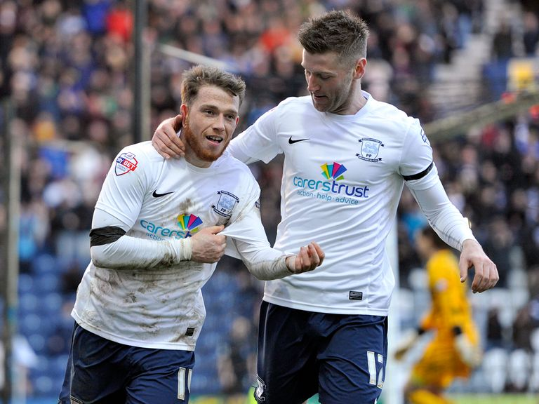 Preston's Joe Garner celebrates on an emotional day at Deepdale