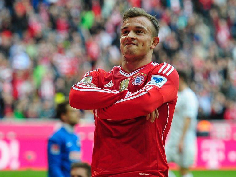 Xherdan Shaqiri celebrates a Bayern Munich goal