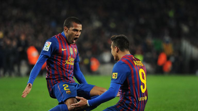 Guillem says Dani Alves (L) and Alexis Sanchez may leave the Camp Nou at the end of the season