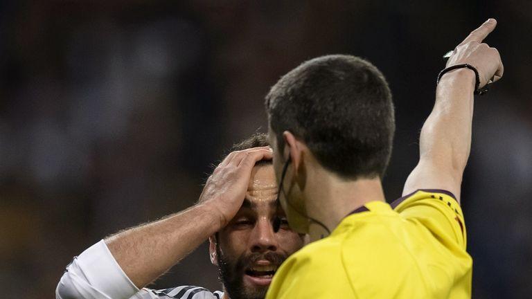 Real defender Dani Carvajal despairs at a refereeing decision