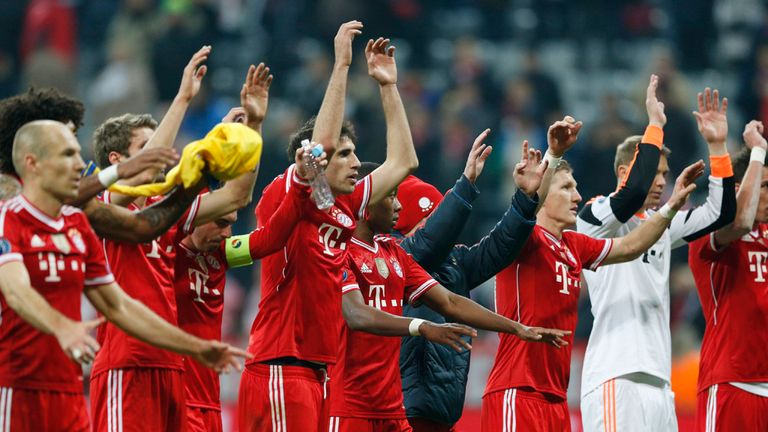 Bayern Munich celebrate after knocking out Arsenal