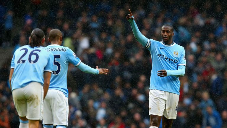 Yaya Toure: Celebrates his hat-trick as Manchester City destroy Fulham 5-0