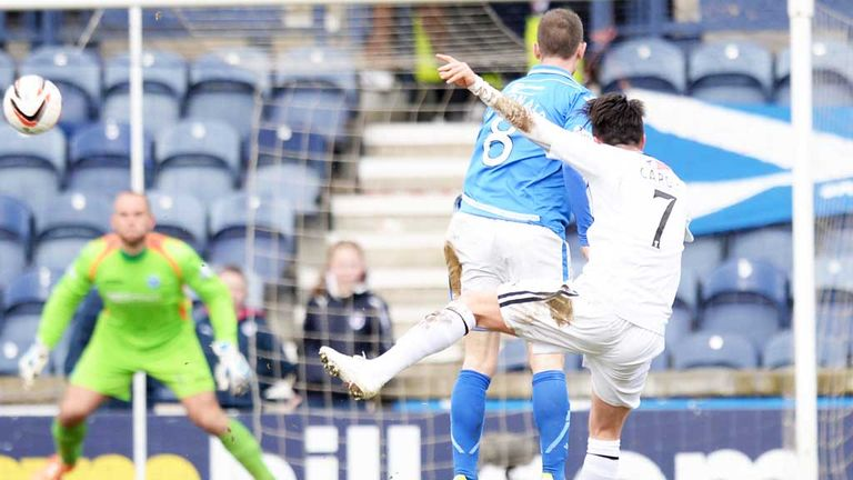 Joe Cardle: Pulls Raith Rovers level in the Scottish Cup tie with St Johnstone