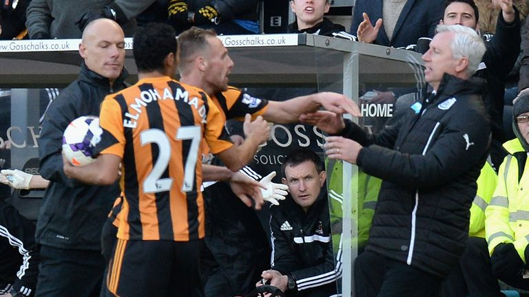 Alan Pardew clashed with David Meyler on Saturday