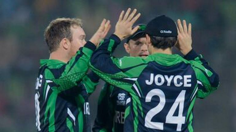 Ed Joyce celebrates an Irish wicket during the World Twenty20