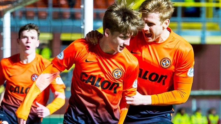 Ryan Gauld (c): Celebrates Dundee United's opening goal aganst Inverness Caley