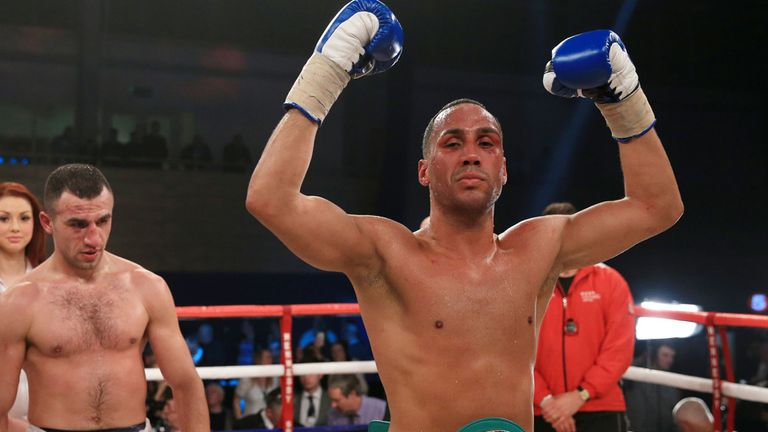 James DeGale celebrates after getting the better of Gevorg Khatchikian