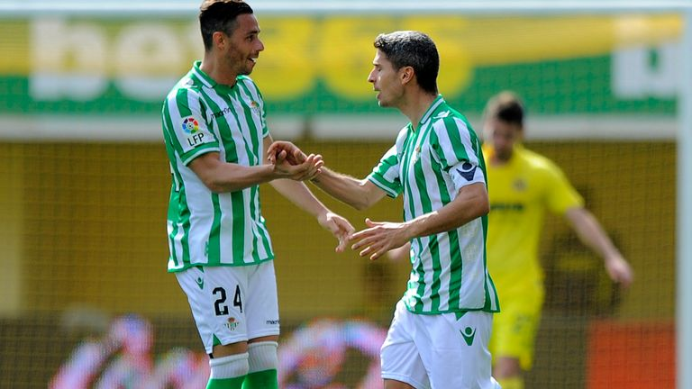 Betis forward Ruben Castro celebrates