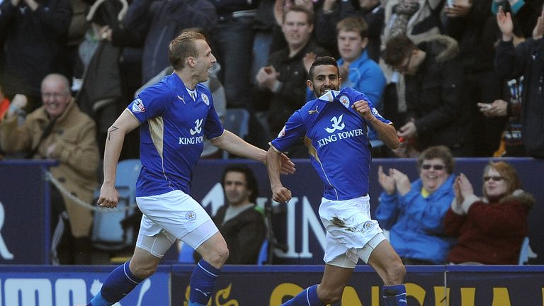 Riyad Mahrez (r): Celebrates his equaliser