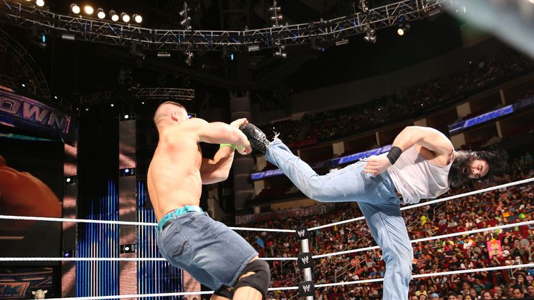 Joy for John: Cena floored the huge Harper on Smackdown